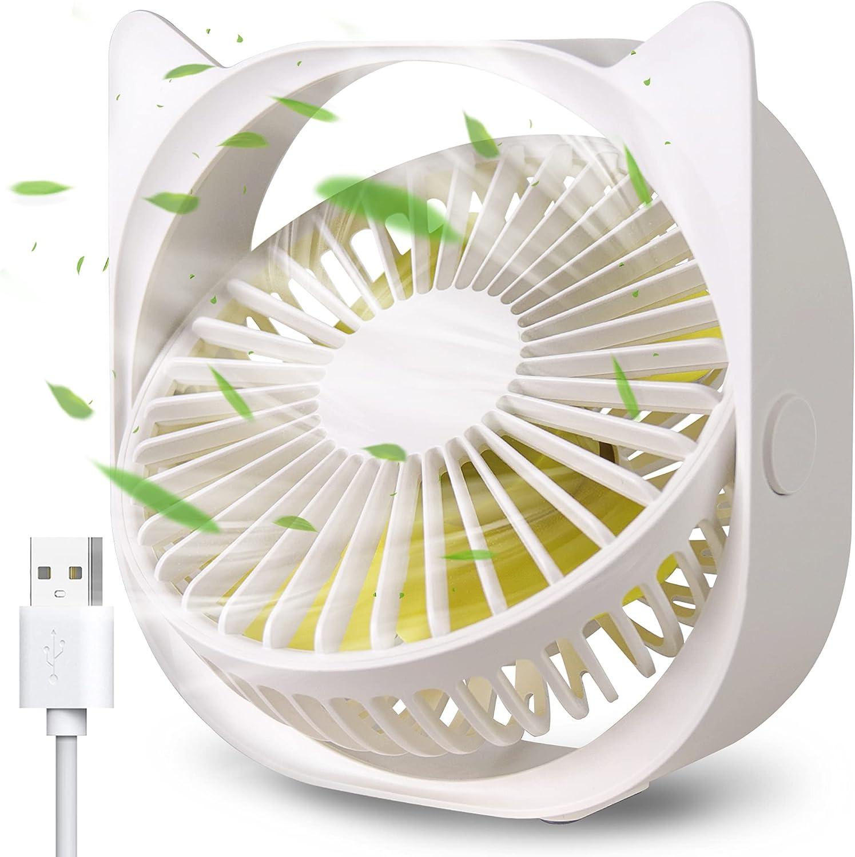 PIPRE USB Desk Fan, Portable Mini Desk Fan 3 Speeds 360° Rotation USB Fan for Home and Office Laptop Notebook PC Desk Table Fan