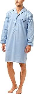 Haigman Men's Easy Care Long Sleeve Nightshirt with Cotton Sleepwear Nightwear