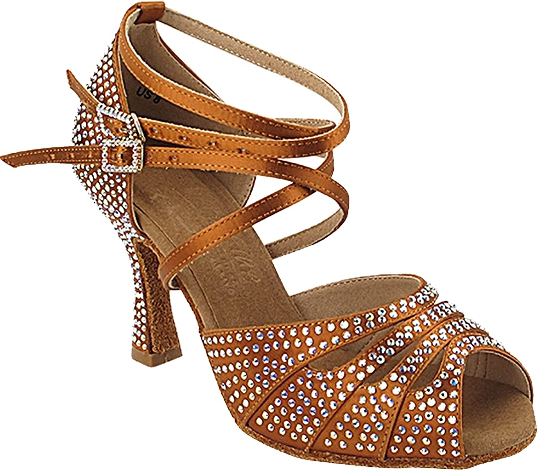 Women's Ballroom Dance Shoes Tango Wedding Salsa Shoes S1007CCEB Comfortable Very Fine 2.5
