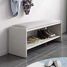 Shoe Storage Bench, Shoe Rack Bench with Soft Seat Cushion, Solid Wooden Shoe Storage Organizer for Entryway Hallway Bathr...