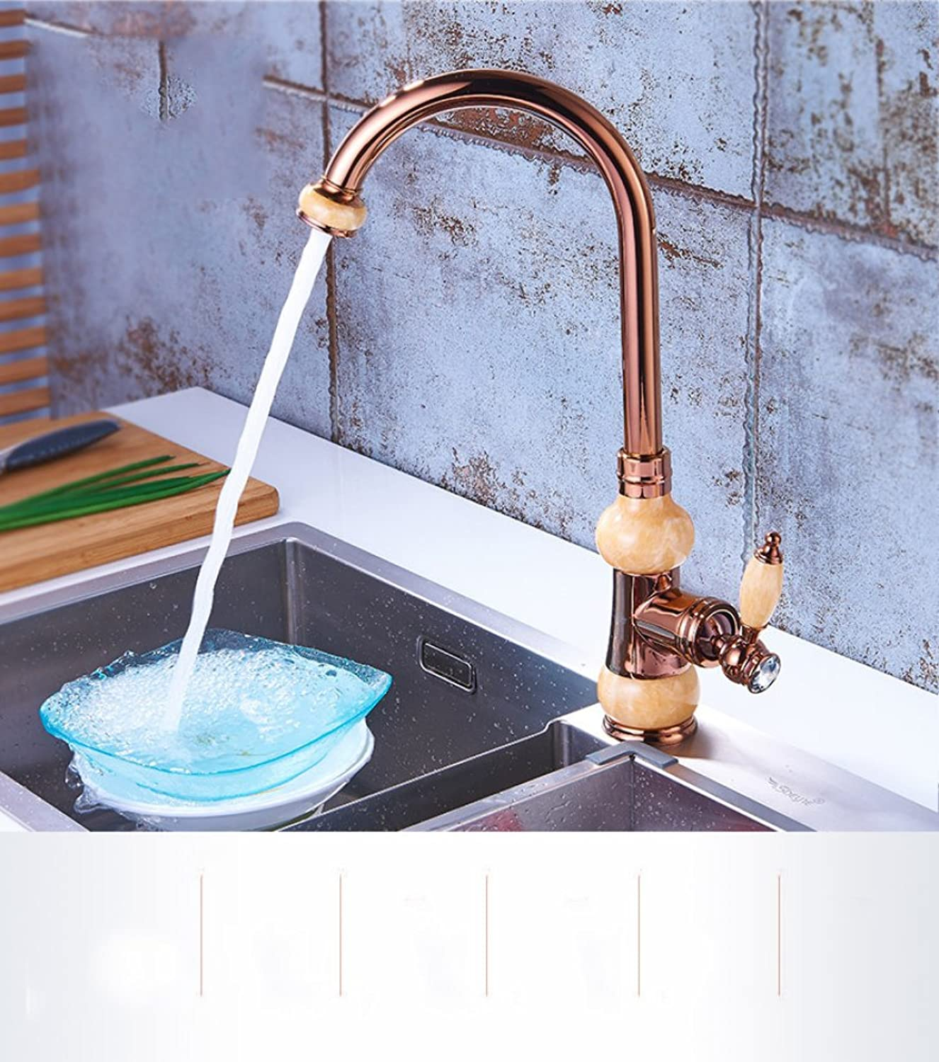 SMQ faucet pink gold European kitchen with sink sink redatable copper white jade hot cold single hole vegetable basin tap