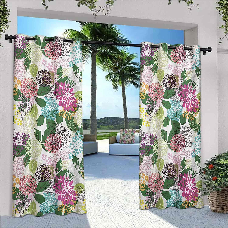 trust FloraOutdoor Patio Quality inspection Curtains Flower Beauty Botanical Bouquet Art