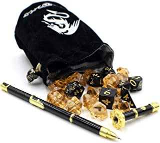 Black and Gold Metal D&D Die Set with Sword Pen and Dice Bag