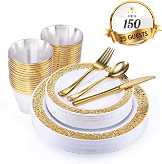150 Piece Gold Dinnerware Set with Plastic Silverware, Elegant Lace Disposable Plastic Plate Setting Includes: 25 Dinner Plates, 25 Dessert Plates, 25 Forks, 25 Knives, 25 Spoons, 25 Cups