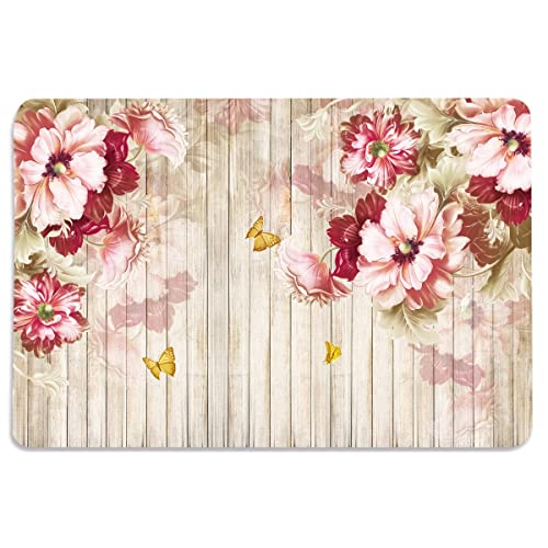 Walls and Murals Cotton Table Mats 6 Seater, Flowers and Wood Planks HD Digital, 12 x18 Inches, Multicolour -Set of 6