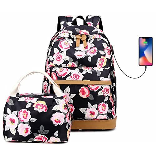 158662aa9aea Teen Girls High School Bookbag College Backpack Set with Lunch Box Shopping  Travel Rucksack 15Inch Laptop