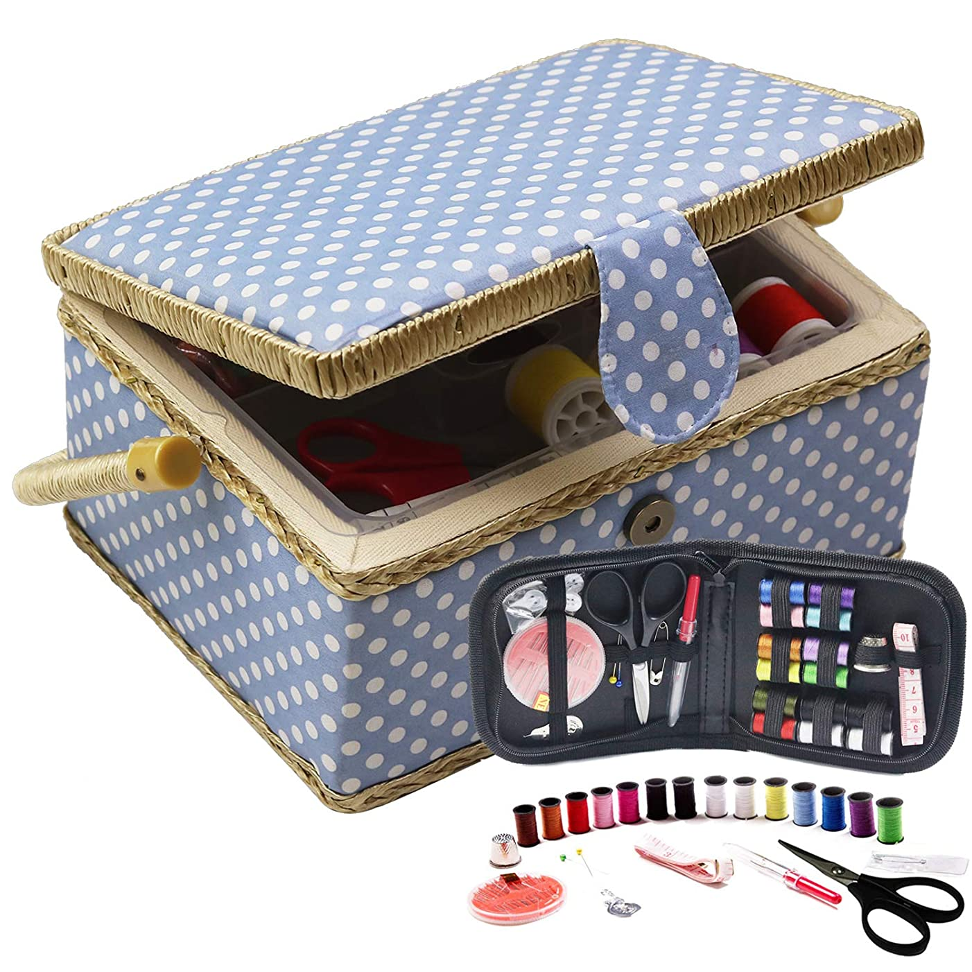 Medium Sewing Box with Travel Kit Sewing Basket Organizer with Accessories DIY Sewing Supplies Sewing Kits for Adults, Blue