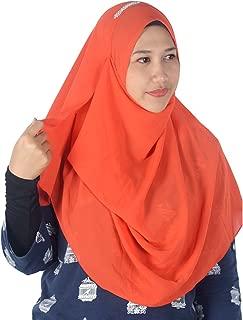 Womens Tangelo Orange Plain Double Loop Instant Chiffon Hijab Scarf Ready Wear