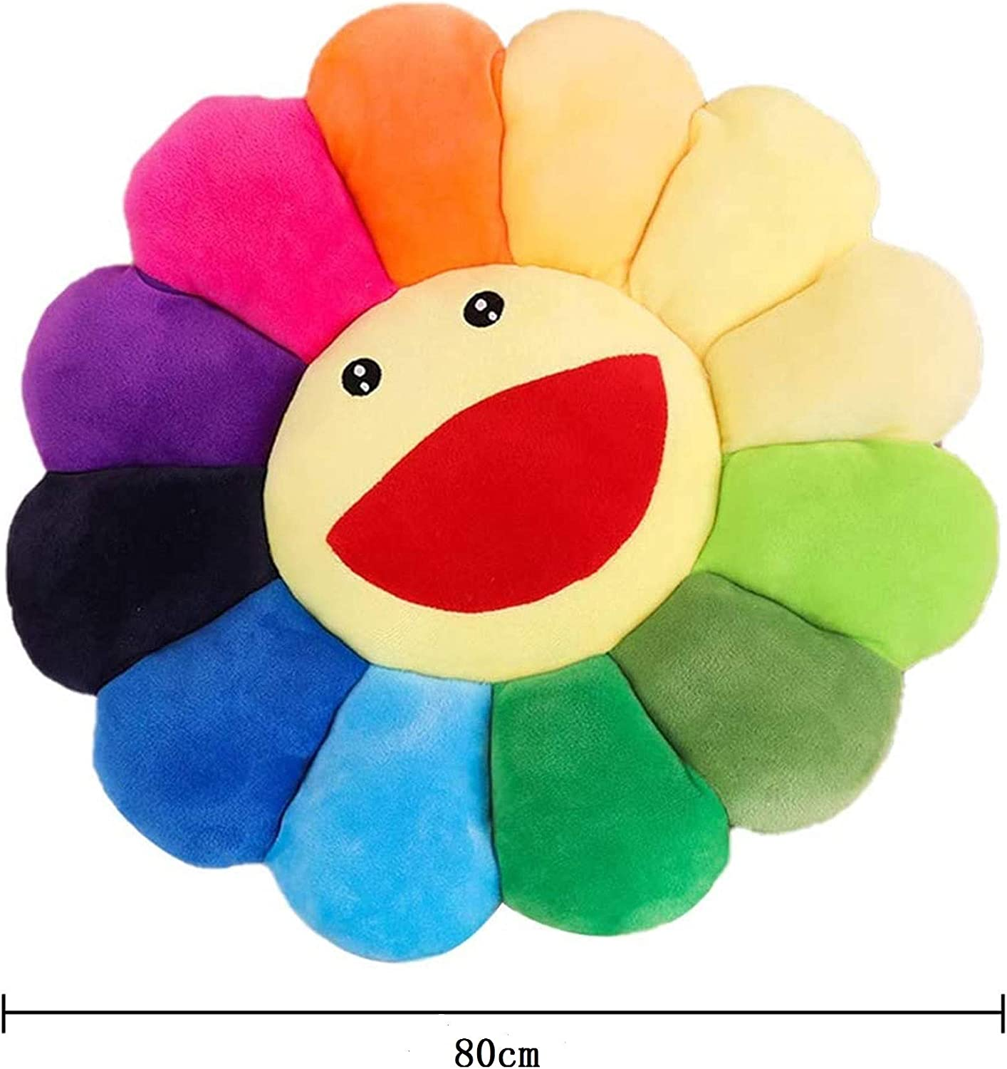 Sunflower Pillow Sofa Chairs Floor Pillow for Kids Reading Nook Watching TV Bed Room Decoration SYSI 17 Flower Plush Pillow Smile Flower Shaped Seating Cushion Rainbow