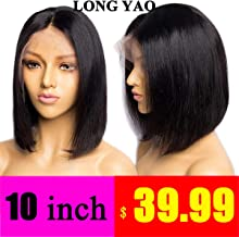 LONG YAO Short Bob Straight Wig Human Hair 13x4 Lace Front Wigs Human Hair Bob Wigs For Black Women With Baby Hair Pre Plucked Gluless Brazilian Wigs(Straight 10 Inch Wig, 13x4 Lace Front Bob Wig)