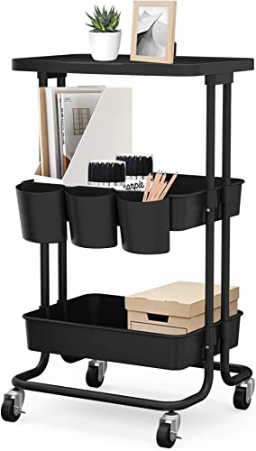 new arrival CAXXA 3-Tier outlet online sale Rolling Storage Organizer with Tabletop and 3 Small Baskets - discount Mobile Utility Cart, Printer Cart, Kitchen Cart (Black) outlet sale