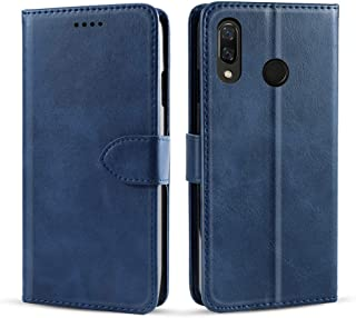 BQ Vsmart Active 1 Case, Luxury Genuine Leather Case with Viewing Stand, Card Slot, Protective Bumper Wallet Cover for BQ Vsmart Active 1 (Blue)