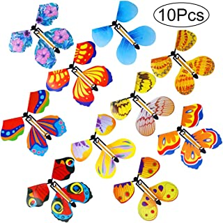 Outee 10 Packs Magic Flying Butterfly Card Surprise Wind Up Butterfly in The Book Rubber Band Powered Magic Fairy Flying Toy Great Surprise Gift
