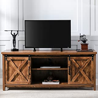 AUXSOUL Farmhouse TV Stand for 65 Inch Flat Screen - Wooden Entertainment Center with 2 Sliding...
