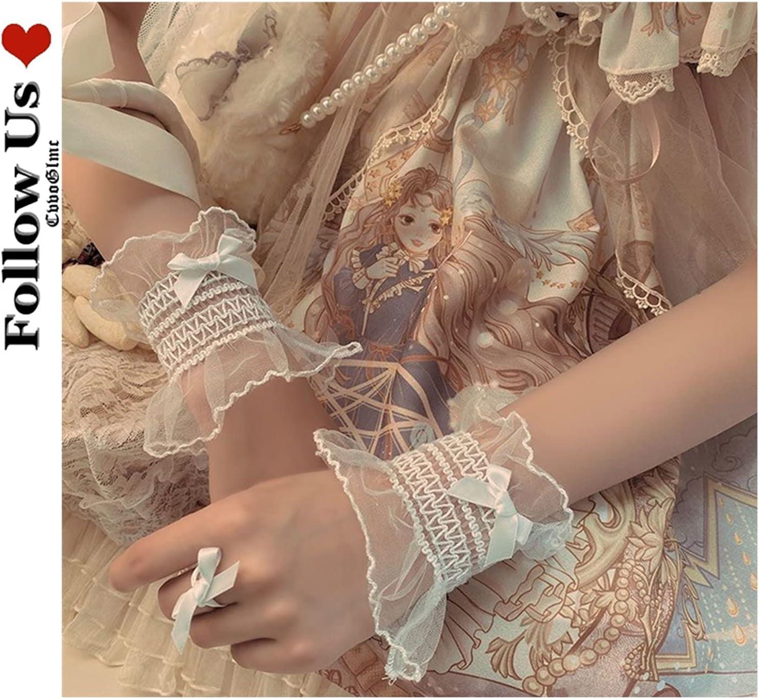 Elegant Lace Gloves Lolita Black Lace Bow Arm Warmer Harajuku Fingerless Cuff Kawaii Gloves Women Cute Girl Wrist Sleeve Cuff Sleeve Cuff Women (Color : Black, Gloves Size : One Size)