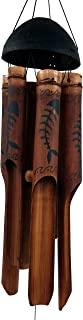 Cohasset Gifts Bamboo Wind Chimes | Large 45 inch | Natural Beautiful Sound | Wood Outdoor Home Decor | 194 Bone Fish Simple