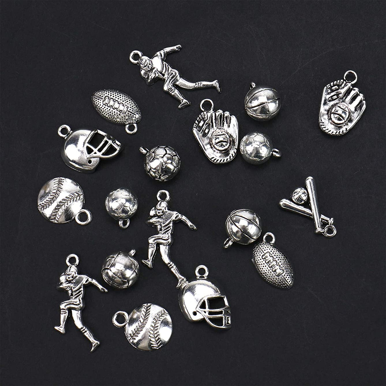 Monrocco Alloy Ball Games Sports Charm Pendant DIY Jewelry Making Accessaries(30pcs,Antique Silver)
