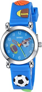 INWET Kids Time Teacher Watch Blue Watch with 3D Football Sports Silicone Strap Soft and Light
