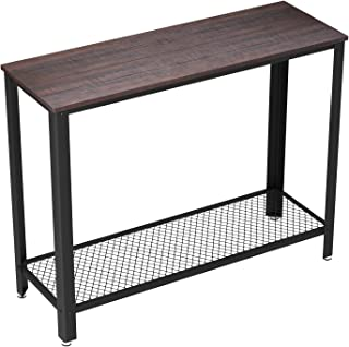 VASAGLE Industrial Console Sofa Table, for Entryway, Living Room, Bedroom, Easy Assembly, Rustic Dark Brown