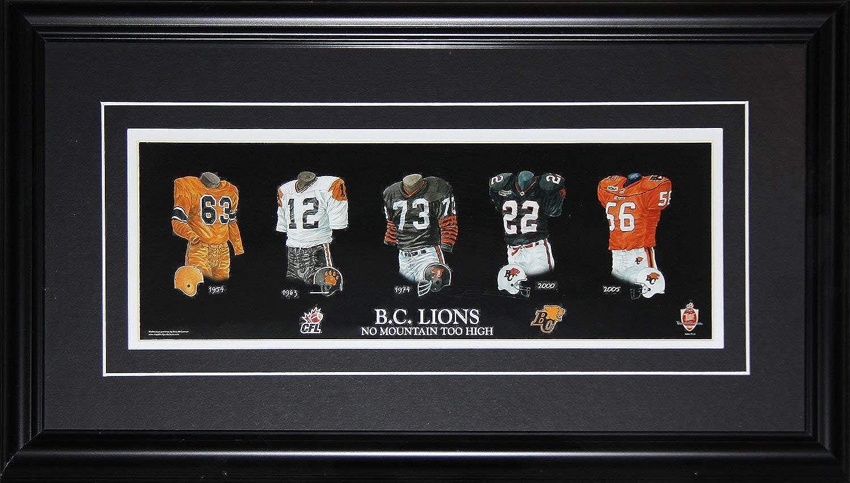 B.C. British Columbia Lions CFL Football Jersey Evolution CFL Football Frame