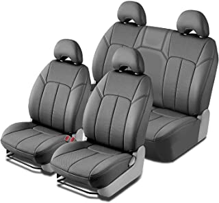 Clazzio 210422gryy Grey Leather Front and Rear Row Seat Cover for Toyota Tacoma Double Cab