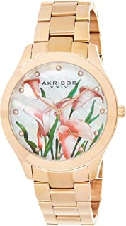 Akribos Xxiv Women's Analog Japanese-Quartz Watch With Stainless-Steel Strap Ak953Frg, Rose Gold Band