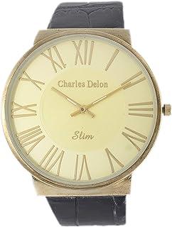 Charles Delon Mens Quartz Watch, Analog Display and Leather Strap 4658 GACB