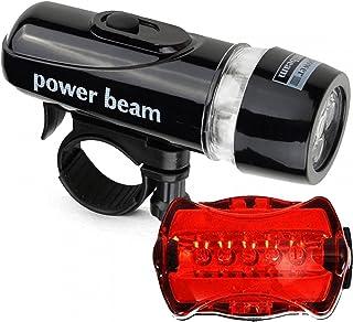 Eastdall Lanterna De Bicicleta,Conjunto de luzes dianteiras traseiras de bicicleta Lanterna de farol LED para bicicleta Ki...