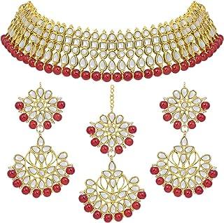 Aheli Bollywood Style Faux Kundan Beaded Choker Necklace Dangle Earrings Maang Tikka Indian Jewellery Set for Women