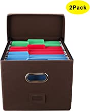 EasyPAG Collapsible File Storage Box - Desk Filing Organizer Bins with Lid & Handle Inner Metal Brackets for Letter/Legal Document | 2 Pack | Brown