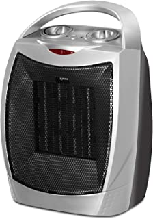 Ceramic Space Heater - 750W / 1500W Power Setting - Adjustable Thermostat - PTC Heating Element - Over-Heating Protection System