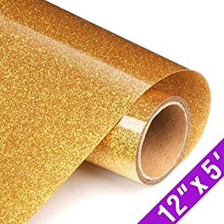 Glitter Heat Transfer Vinyl Rolls 12x60 Inch, Iron on Vinyl Compatible with Silhouette Cameo & Cricut by TransWonder(Golden Yellow)