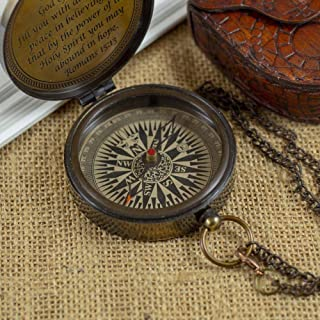 """Calyron Brass 2.75"""" Pocket Magnetic Compass with Chain Nautical Boat Decor Antique Steampunk Style Sun dial Engraved Gifts..."""
