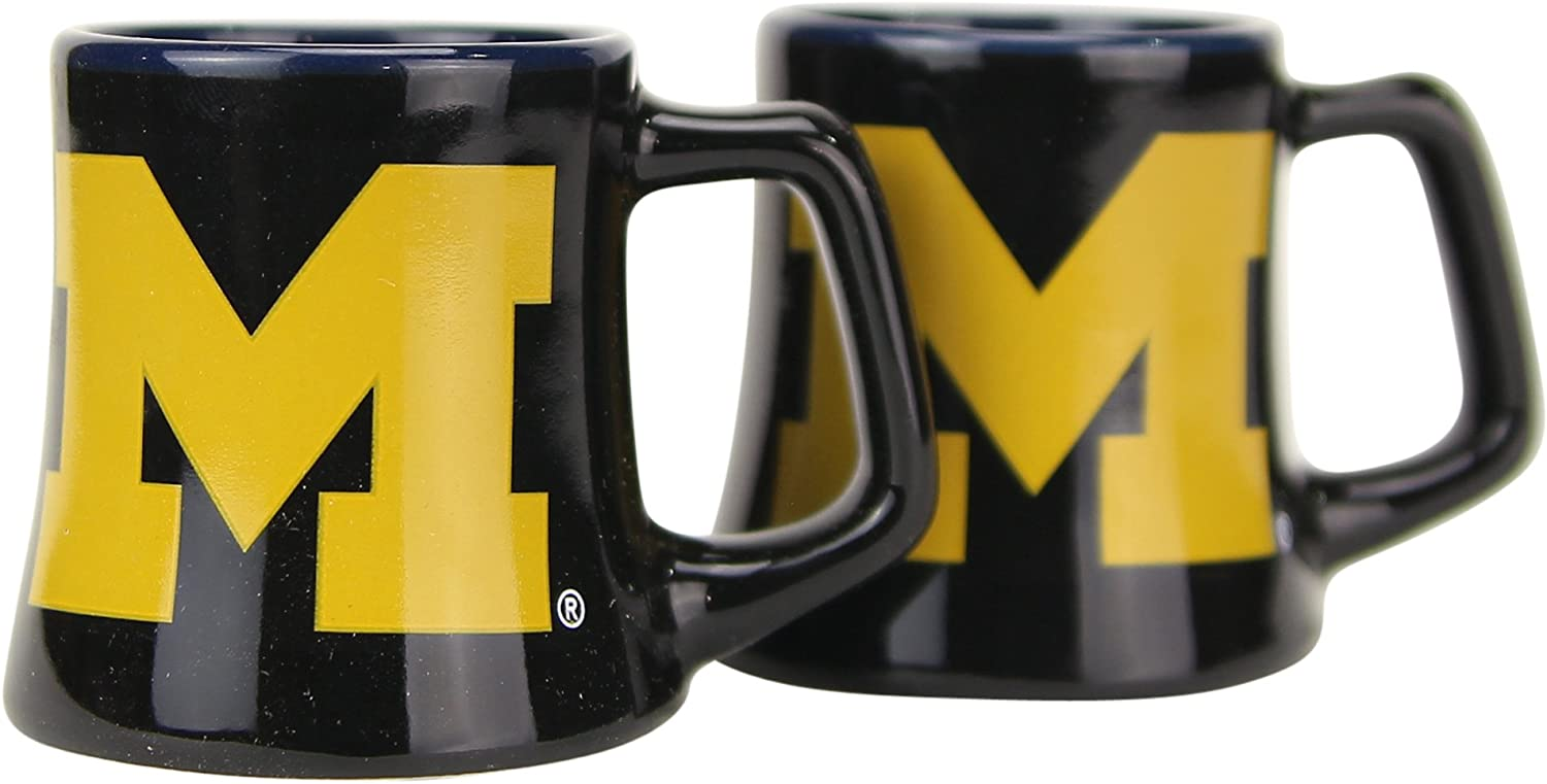 NCAA Full Color Free Shipping Cheap Bargain Gift Sclupted Mug 2oz Albuquerque Mall 2-Pack Wol Michigan Shot Glass