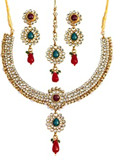 Best red and green kundan necklace set Reviews