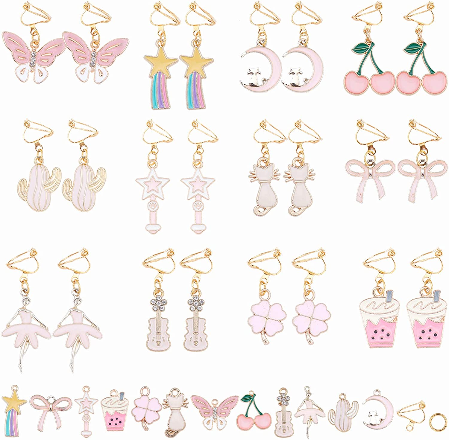 At the price of surprise SUNNYCLUE 1 Box DIY 12 Pairs Clip Now free shipping On C Pink Earrings Themed Cute