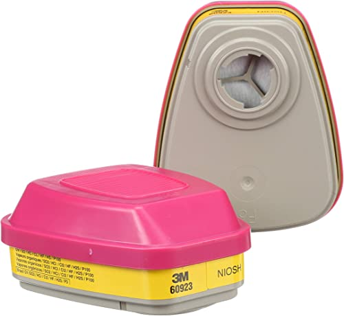 3M P100 Respirator Cartridge/Filter 60923, 1 Pair, Helps Protect Against Organic Vapors, Acid Gases, and Particulates