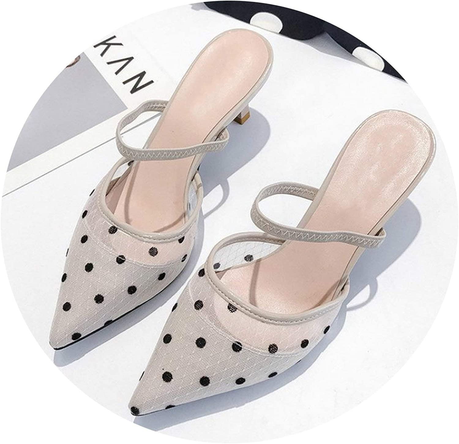 I Need-You shoes Women High Heel Polka Dot 2019 Summer Fashion New Mules shoes Ladies Pointed Toe Slip On Half Slippers Large Size