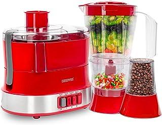 Geepas 4-in-1 Multi-Function Food Processor | Electric Blender Juicer, 2-Speed with Pulse Function & Safety Interlock | 80...