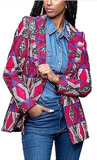 Sodossny-JP 女性の長い袖アフリカダシキカラー首コートブレザースーツ