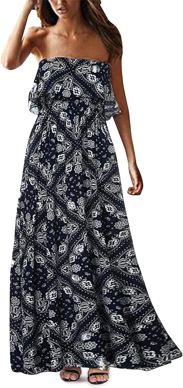 BUYYA Women's Summer Fashion Sexy Casual Strapless Long Ruffled Beach Long Skirt Tube top Dress Navy