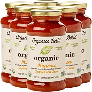 Organico Bello - Organic Gourmet Pasta Sauce - Marinara - 24oz (Pack of 6) - Non GMO, Whole 30 Approved, Gluten Free