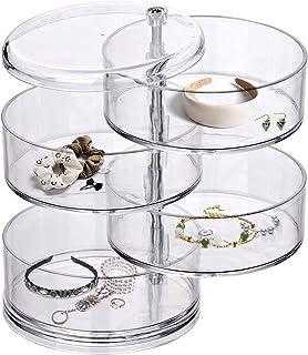 Organisateur de Bijoux, Porte-Organisateur boîte à Bijoux Porte-Boucle d'oreille pour Femmes,boîte à Bijoux rotative à 360...