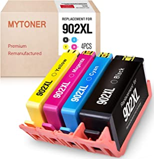 MYTONER Remanufactured Ink Cartridge Replacement for HP 902XL 902 XL 902 Ink Cartridges for OfficeJet Pro 6958 6978 6968 6962 6975 6960 6970 6950 6954 6979 6975 (Black Cyan Yellow Magenta, 4-Pack)