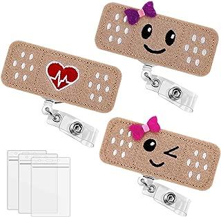 3 Pack Bandaid Badge Reel Holder, Premium Nursing Name Badge Holder, Felt Badge Reel for Nurses, Students & Teachers, Cute & Practical ID Badge Holder, Alligator Clip, Easy to Use & Resistant