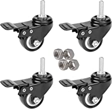 MySit 4pcs Stem Casters M8x25 with Brake Lock | 2 Inch Heavy Duty PU Rubber Swivel Castor Wheel Shopping Trolley - Threaded Stem Bolt with Nuts (CasterBrake50_8x25N)