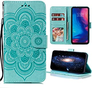 Capa carteira para celular LG K52 / K62 / Q52 PU couro flip capa mandala em relevo - verde