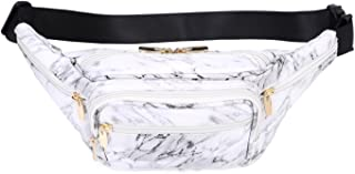 Hearty Trendy Fashion Signature Series Faux Leather 6 Pockets Fanny Pack Waist Pack -Marble