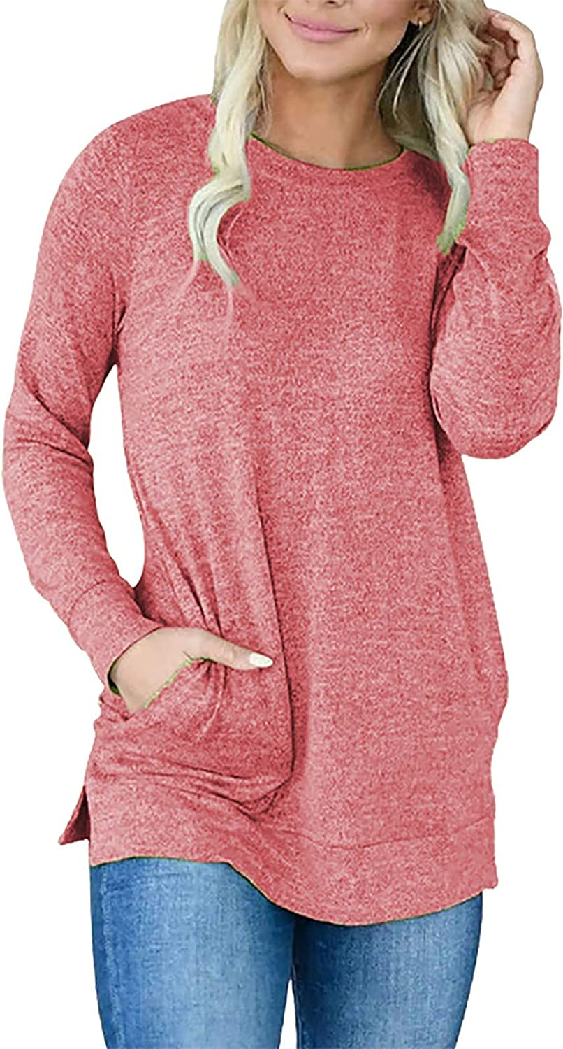 QXDLDHT Women's Casual O-Neck Contrast Long Color Top Sleeve Manufacturer direct delivery Pul Max 60% OFF