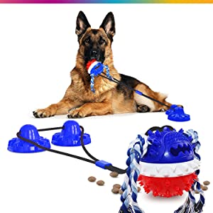 Palomo Market - Super Chewer Dog Toys for Aggressive Chewers Large Breed - Upgraded Large Size Blue Color. Attractive Chew Toy. Food Dispenser Double Suction Cup Dog Toy. Get Your Big Dog Toys Today!
